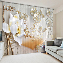 3D Printing Love Style Curtains With Bedding Room Living Room or Hotel Cortians Thick Sunshade Window Curtains