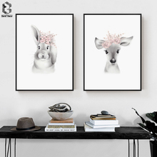 Cute Baby Animal Deer Canvas Art Print and Poster, Nursery Woodlands Rabbit Painting Nordic Wall Picture Home Decor