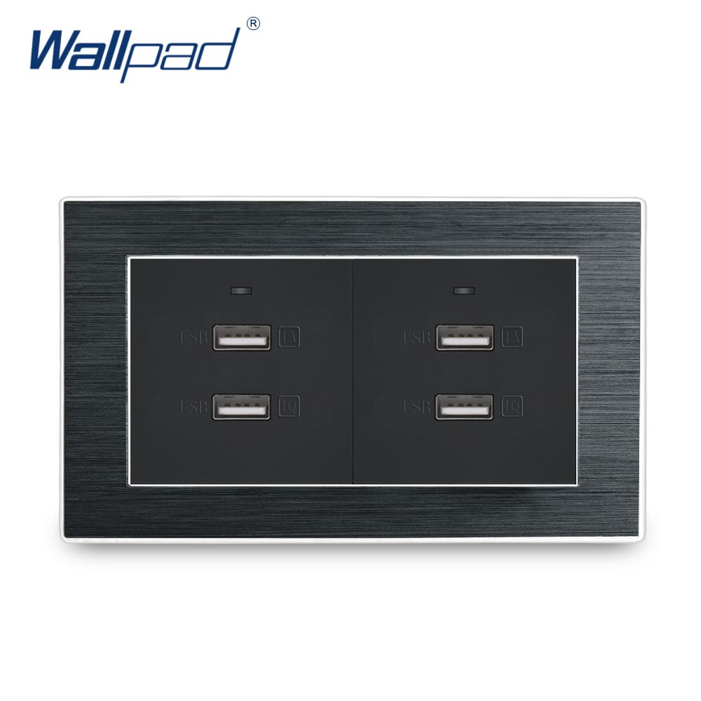 3.0 USB Socket Wallpad Luxury Satin Metal Panel 146*86mm Four 3.0 USB Phone Charge Wall Outlet Panel Wall Socket Quick Charge недорго, оригинальная цена