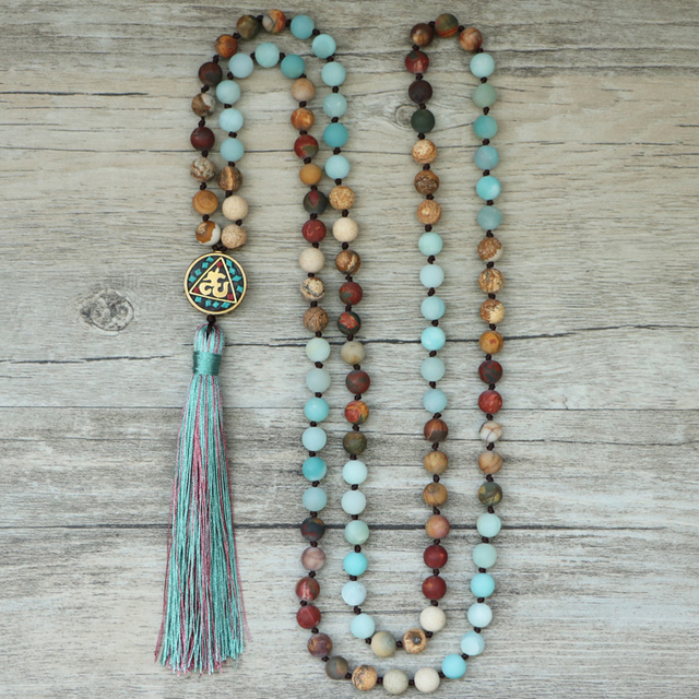 EDOTHALIA Matte Natural Stone 108 Beads Necklaces For Women Female Payer Regious Nepal Pendant Long Mala Necklace Jewelry