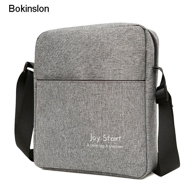 Bokinslon Men Shoulder Bag Casual Canvas Man Popular Shoulder Bag High Quality Practical Male Shoulder Bag