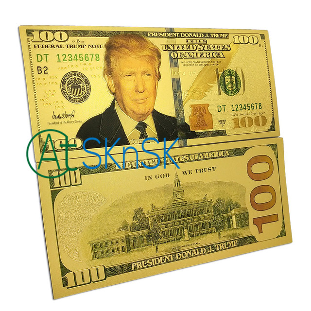 World Paper Money Collection 8pcs Set 100 Banknotes Usa President Donald Trump Dollars Gold Foil Bill Currency Collections Gift