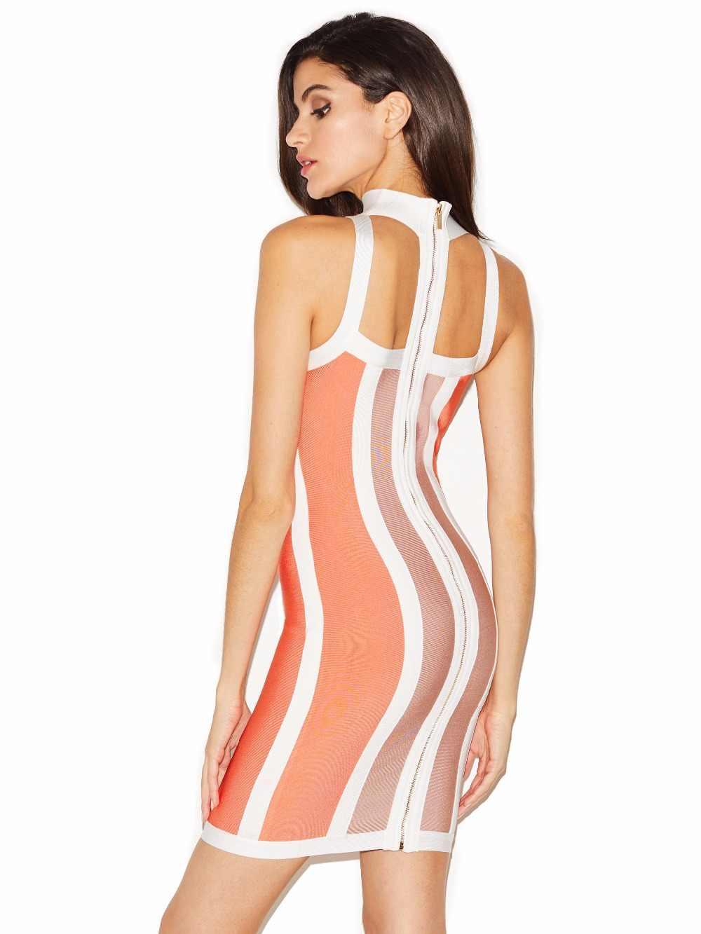 Лоскутное короткое Бандажное платье Choker Neck Dress в полоску Цвет заблокирован вечерние Bodycon Для женщин Vestidos FH13