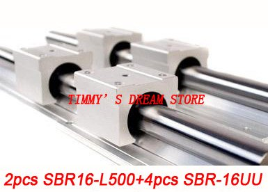 Free Shipping 2pcs SBR16-500mm Linear Bearing Rails + 4pcs SBR16UU Bearing Locks CNC X Y Z free shipping 2pcs sbr16 700mm linear bearing rails 4pcs sbr16uu bearing locks cnc x y z