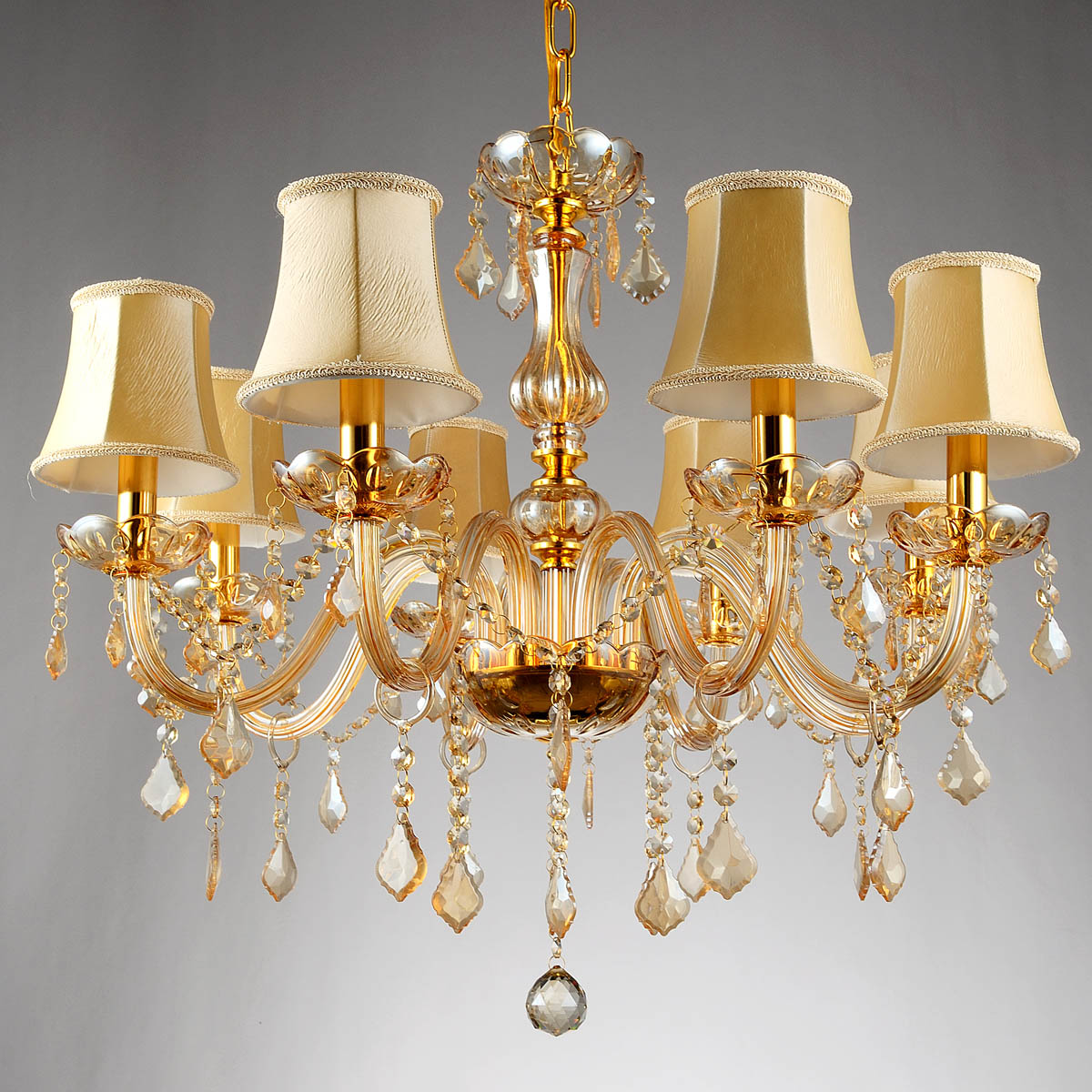 Free ship 6/8 Arms Fashion crystal chandelier lighting Bedroom pendant Chandelier champagne color gold crystal lighting lamps