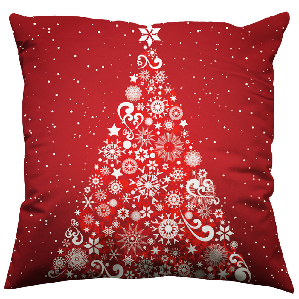 Christmas Xmas Linen Cushion Cover Throw Pillow Case Home: Christmas Pillow Case Xmas Tree Printing Cotton Linen Sofa