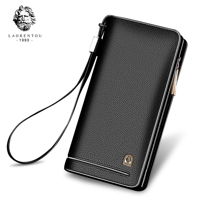 LAORENTOU Men Wallets with Wristlet Genuine Leather Clutch Purse Long Wallet Large Capacity Zipper Purse Valentine's Day Gift feidikabolo brand zipper men wallets with phone bag pu leather clutch wallet large capacity casual long business men s wallets