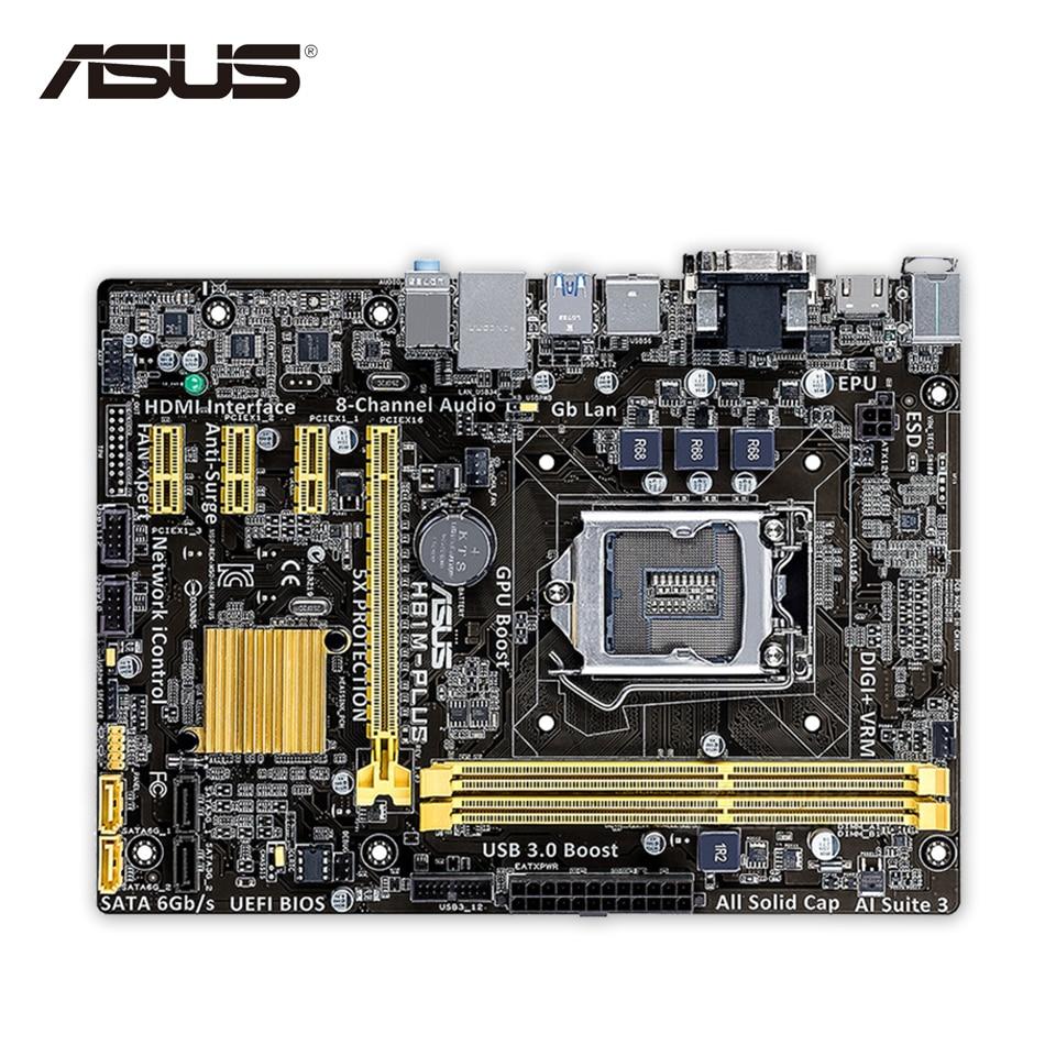 Asus H81M-PLUS Desktop Motherboard H81 Socket LGA 1150 i7 i5 i3 DDR3 16G SATA3 UBS3.0 Micro-ATX Second-hand High Quality asus maximus vii ranger desktop motherboard m7r z97 socket lga 1150 i7 i5 i3 ddr3 32g sata3 atx second hand high quality
