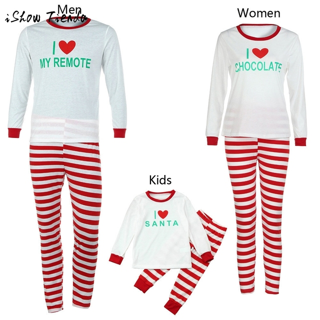 2017 Man Mom kids Family Matching Christmas Pajamas Set Striped Blouse + Pants Boy Girl Letter Printed Outfit Clothes Set costume 62b5c7788