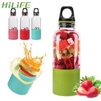 HILIFE USB 충전식 과일 오렌지 주스 추출기 휴대용 500ml 셰이커 압착기 전기 Juicer 컵 블렌더 메이커