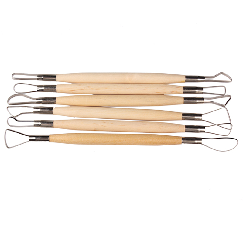 ASLT Hot Sale 6PCS Wood Handle Wax Pottery Clay Sculpture Carving Tool DIY Craft Set Fast Shipping