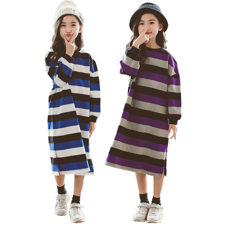 Girls Dress Long Sleeve Matching Family Outfits Autumn Striped Kids Dress for Girls Clothes Mother Daughter Dresses 12 14 years mother and daughter clothes short sleeved t shirt dresses family matching outfits baby girl clothes girls clothing long dress