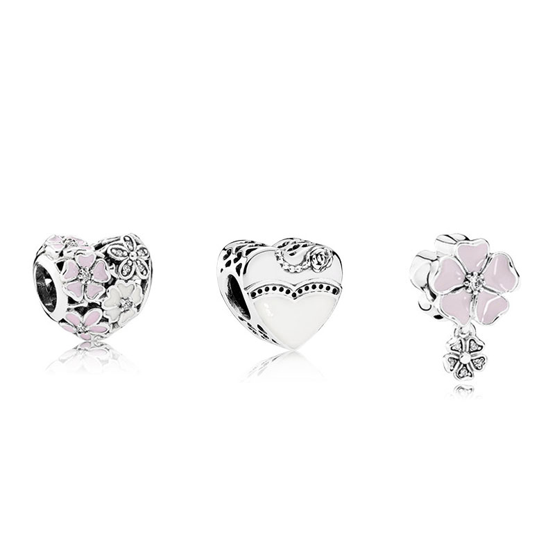 925 Sterling Silver Sets Romantic Wedding Flowers Fits European Style Charm Bracelets & Necklace for Women & Men Jewelry DIY925 Sterling Silver Sets Romantic Wedding Flowers Fits European Style Charm Bracelets & Necklace for Women & Men Jewelry DIY