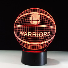 3D Effect Basketball Golden State Lamp 7Color Change Night Light 3D Illusion Acrylic Touch Lamp Sleep Lamp Christmas Gifts