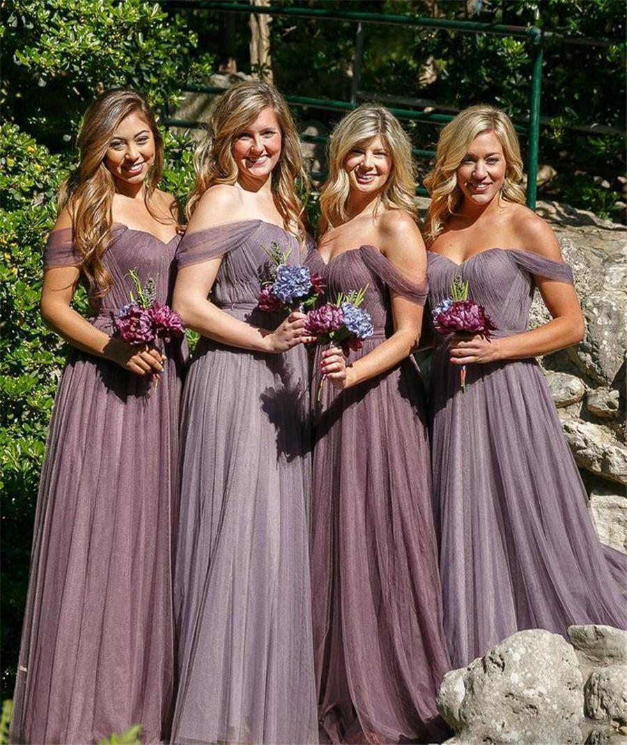Charming Pleat Tulle Long   Bridesmaid     Dresses   Boat Neck Off The Shoulder A Line Sexy   Bridesmaid   Gowns 2019 Vestido De Festa Cheap