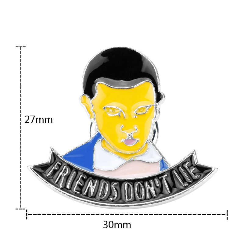 Dongsheng странные вещи Eleven эмалированная булавка, друзья не говорят лжи руки штампованные буквы булавка брошь для джинсов/рюкзака-40