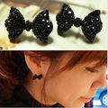 Mix order is$10(mix order)Simple Black Butterfly Bow Earrings rhinestone stud earring jewelry for women 2014 Wholesales
