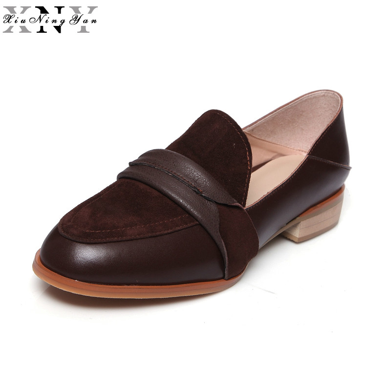 XiuNingYan Women Flats Genuine Leather Oxford Shoes for Woman Shoes Brand Flat Shoes Round Toe Handmade Loafers Big Size 33-43 xiuningyan women leather flats woman vintage flat shoes round toe handmade black brown 2018 oxford shoes for women british style