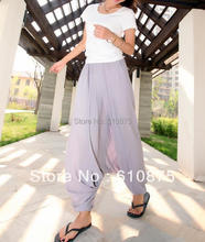 Woman spring autumn plus size loose harem pants women solid Elastic waist cross capris female summer oversized cotton trousers