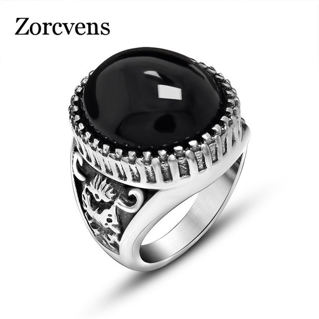 ZORCVENS Vintage Design Black Red Stone Mens Ring Stainless Steel Punk Jewelry Big Stone Rings for Men Never Fade