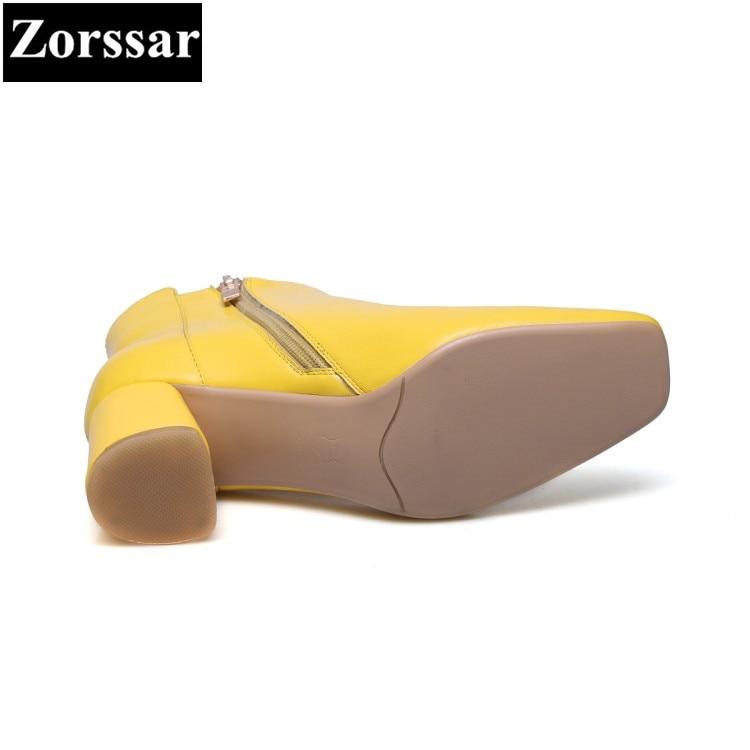 Mujer 2018 Cuero Tobillo Tacón Moda Mujeres Pie amarillo Del Las Dedo {zorssar} Zapatos Botas Genuino Invierno De Cuadrado Alto Corto Negro fwSqdtx