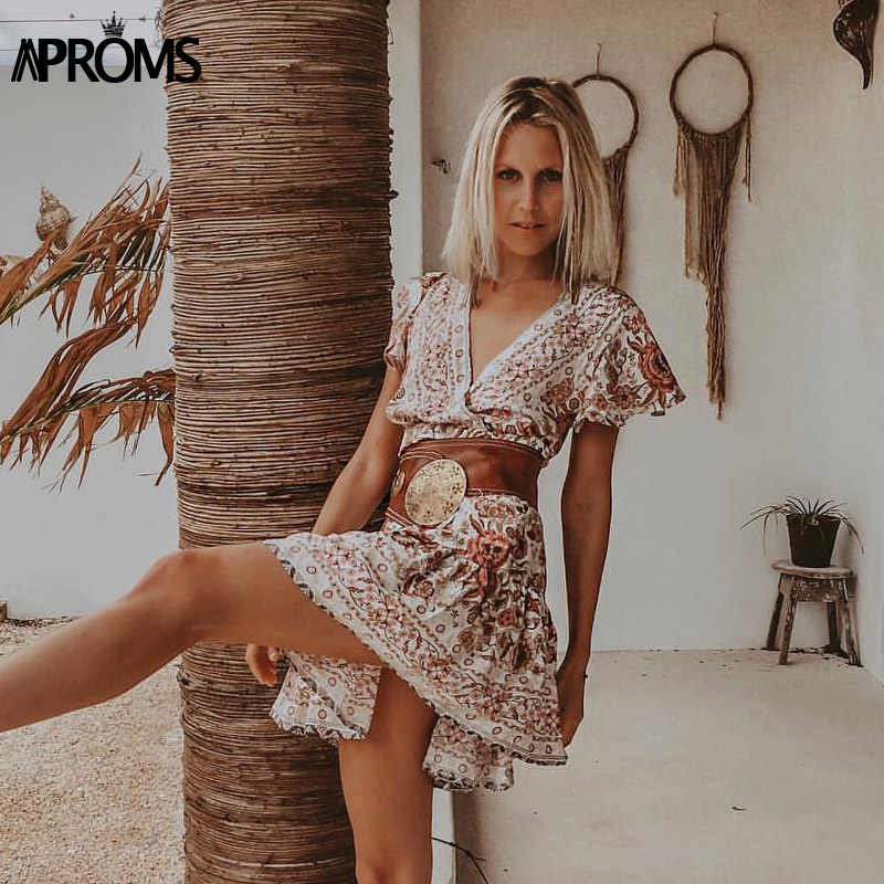 Aproms богемное женское мини-платье с цветочным принтом, элегантные платья с v-образным вырезом и оборками, женские летние пляжные сарафаны 2019