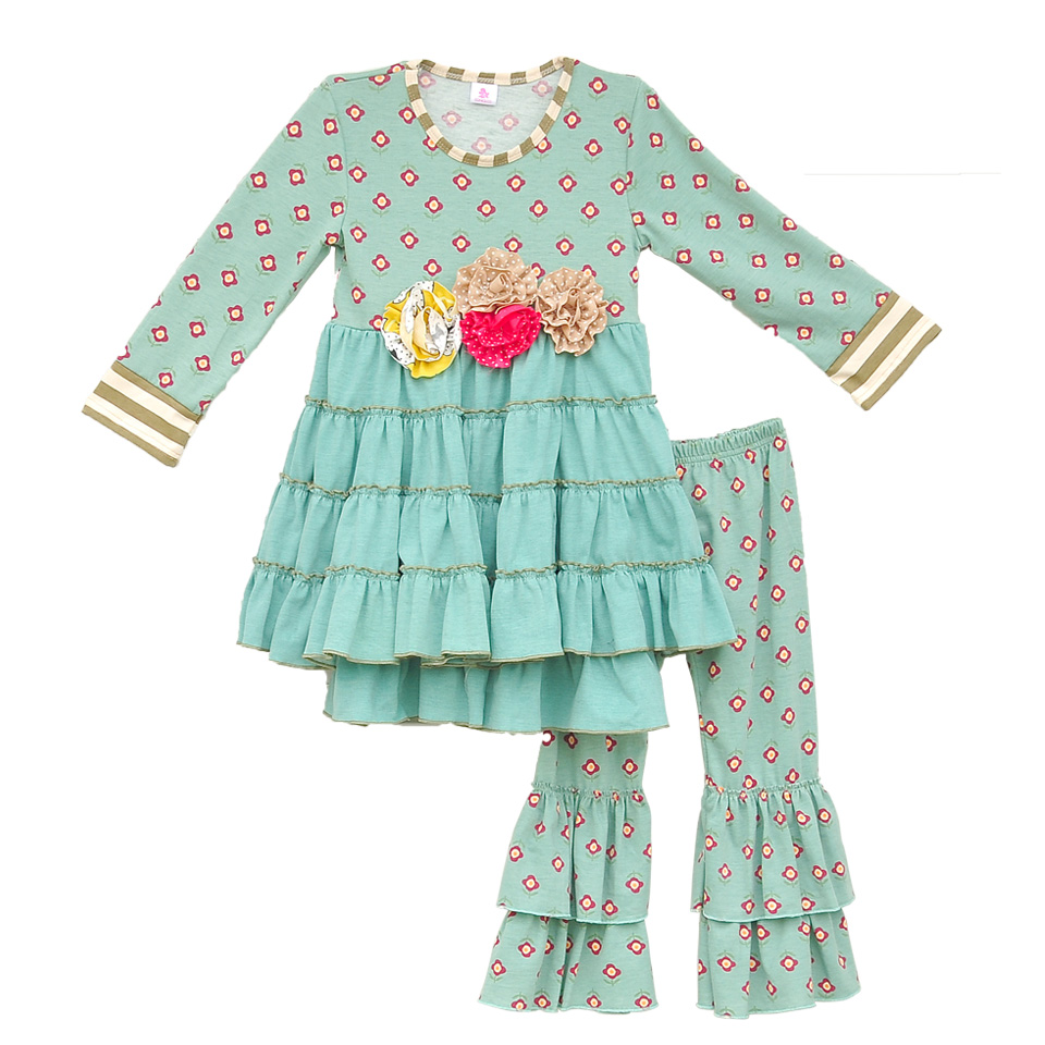 Cute Baby Girl Clothes Pink Flower Printing  Round Neck Long Sleeve Blouse And Pants  Fashion Frill Children Clothing LF06