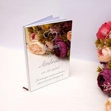 26x19 см Пользовательские Любовь Сердце Свадебная Подпись Гостевая книга персонализированные зеркало переднее покрытие невесты жениха Вечерние украшения сувениры