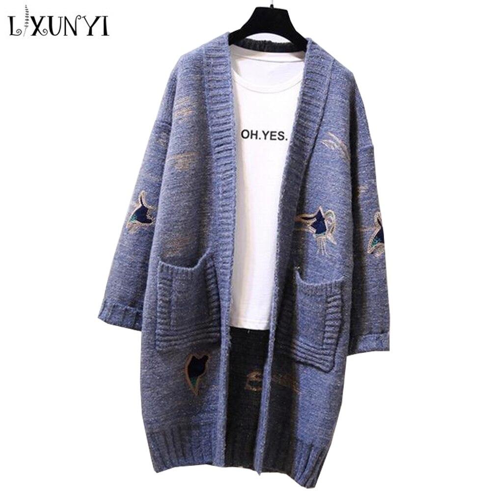 Lana Punto Otoño Cardigan Mujeres Largo De Las Suéter Mujer 2019 Suelto  Bolsillos Invierno Abrigo blue khaki ... cd711344f96b