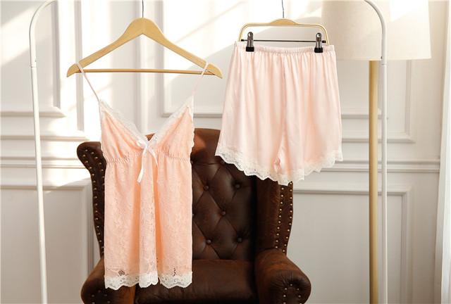 De alta qualidade mulheres de sleepwear laço do falso seda pijama feminino casa roupas Plus Size 2 peça suit Sexy Lace condoer top calções 30 #