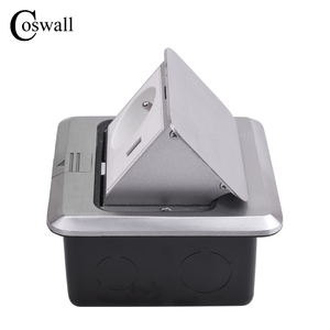 Image 4 - Coswall All Aluminum Silver Panel Pop Up Floor Socket 16A French Standard Power Outlet With USB Charging Port 5V 1A
