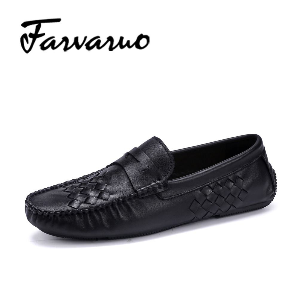 Farvarwo Italian Mens Loafers Soft Genuine Leather Slip Ons Driving Shoes for Men Casual Flats Moccasins Dress Shoes 2017 Black branded men s penny loafes casual men s full grain leather emboss crocodile boat shoes slip on breathable moccasin driving shoes