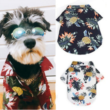 Dog Cat Shirts Cotton Summer Beach Clothes Vest Pet Clothing Floral T Shirt Hawaiian Chihuahua For Small Large Dog Frech Fulldog(China)