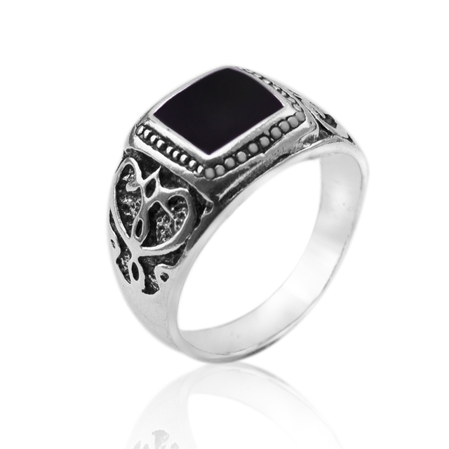 Size:8-11 High Quality Antique Silver Plated Men Ring Christmas New Ring Black Square Enamel Rings Fine Jewelry