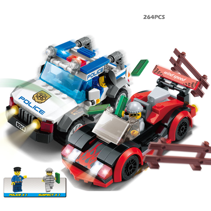 Polices car 264pcs Building Blocks Sets Enlighten Educational DIY Construction Bricks toys Compatible With font b