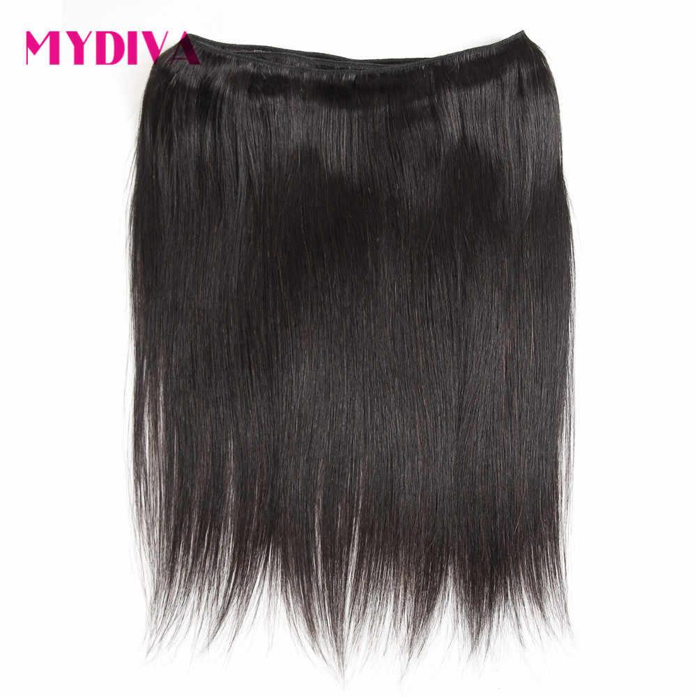 Feixes de cabelo malaio com fecho de cabelo em linha reta pacotes com fecho cabelo humano pacotes com fechamento não remy relação média