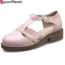 MoonMeek/ Лидер продаж; Новое поступление; женские туфли-лодочки; Модные прямоугольные каблуки; однотонные летние туфли на среднем каблуке