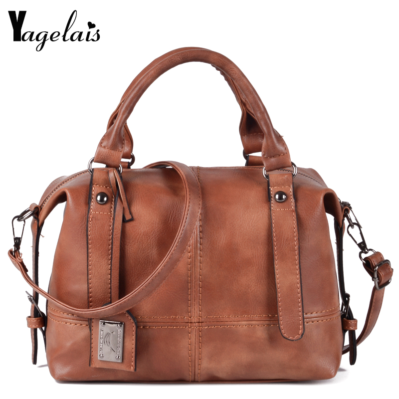 Vintage Leather Ladies HandBags Women Messenger Bags Totes Simple Designer Crossbody Shoulder Bag Boston Hand Bags Hot Sale