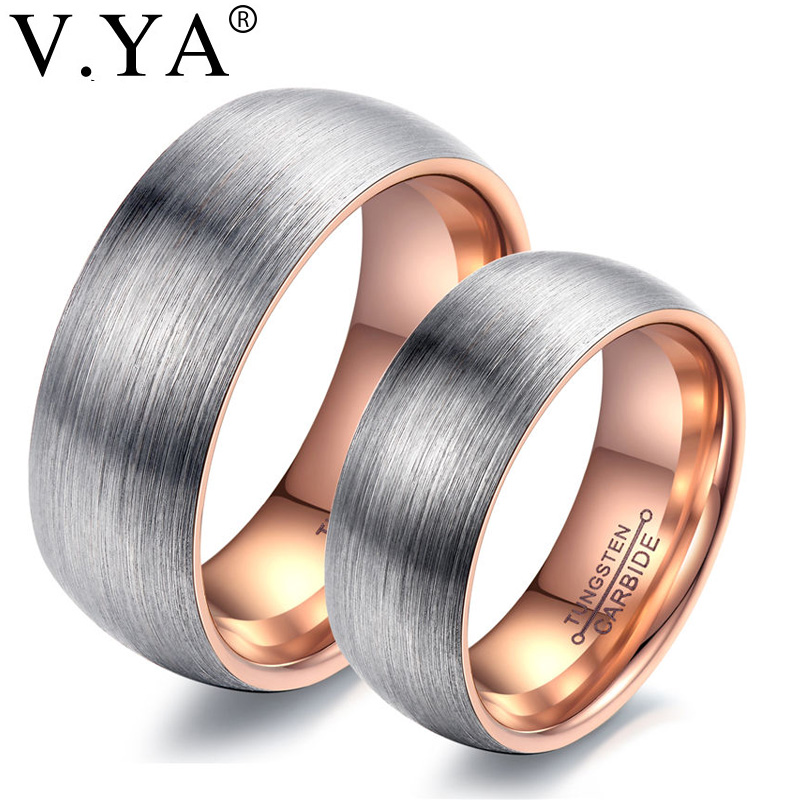 V.YA Romantic Promise Engagement Rings For Couples Trendy Men Women Black Rose Gold Wedding Rings Bands Tungsten Steel Jewelries