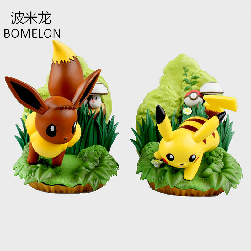 Pikachu/Eevee Aciton Figures Scene Decoration Pocket Monster Toys Anime Figures Puppets Model Dolls Kids Toys Birthday Gifts цена