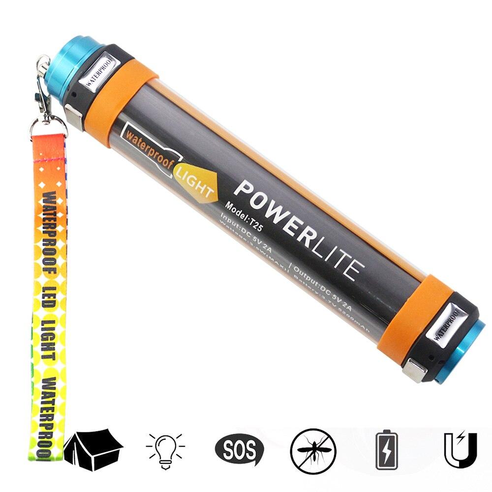 USB Rechargeable Camping Lanternes Powerbank Portable Éclairage IP68 Étanche En Plein Air lampe de Poche D'urgence Led Lumière