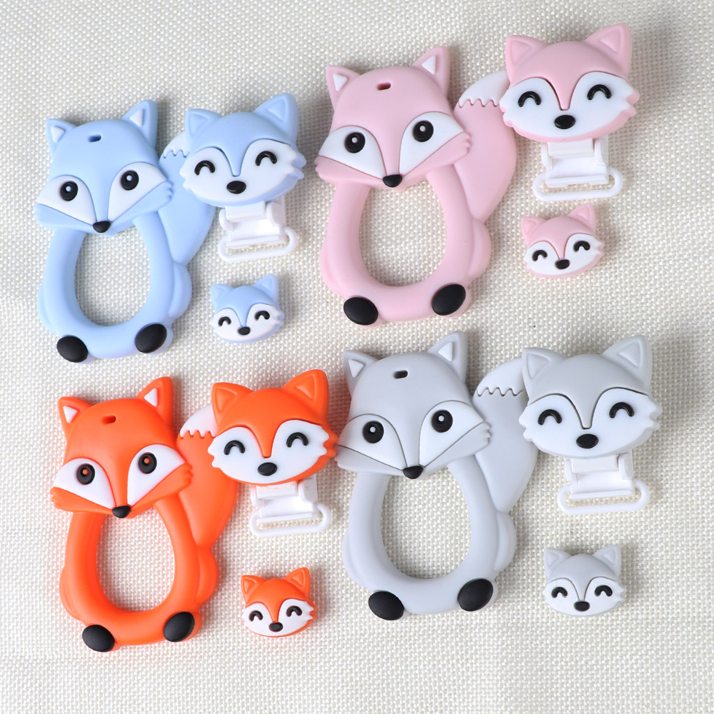 TYRY.HU Fox Baby Teether DIY Bebe Bijtring Ring Food Silicone Teething Toys Nursing Pacifier Clips Teethers