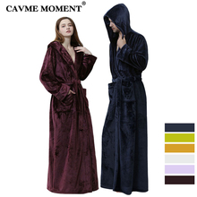 CAVME Plus Size Flannel Hooded Bathrobe for Couples Winter Kimono Robes Women Mens Loungewear Night Dressing Gown