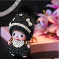 Christmas monchichi keychain lovely doll pendant Inlay Crystal Rhinestone Key chain llaveros for woman bag charm porte clef Gift