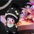 Monchichi chaveiro linda boneca de natal pingente de prata do Embutimento de Cristal Rhinestone Chave cadeia llaveros para mulher charme saco porte clef Presente