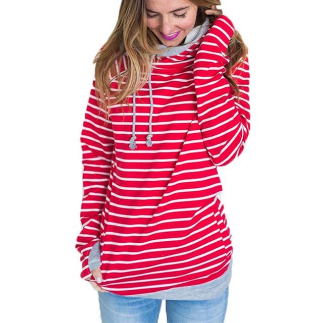 Double hood hoodies sweatshirt Women black and white striped drawstring  hoodie Long sleeve Autumn side zipper grey hooded femme 9751f82ebb
