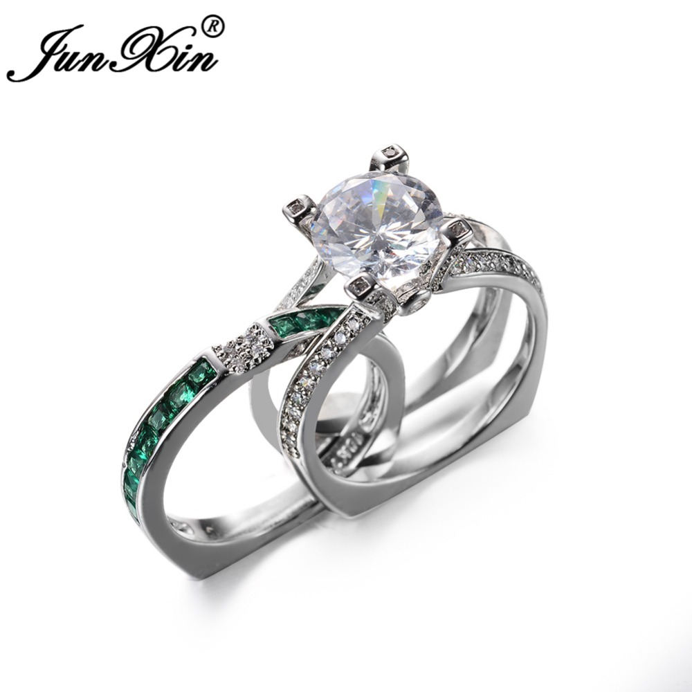 JUNXIN Luxury Female Green Ring Set Bridal Sets High