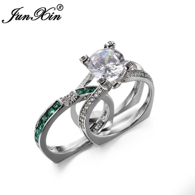Junxin Luxury Female Green Ring Set Bridal Sets High Quality Gold