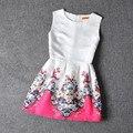A-line Floral Grande Vestido de Las Muchachas, Vestido de niña de Verano 2016, Glamour Girls Vestido de Fiesta de Cumpleaños, Rosa Floral Niñas Adolescentes Ropa