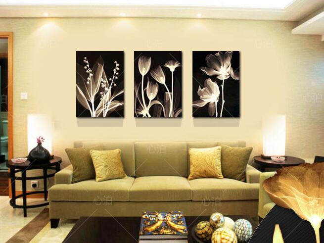 Living room decorative painting Modern sofa background flower design ...
